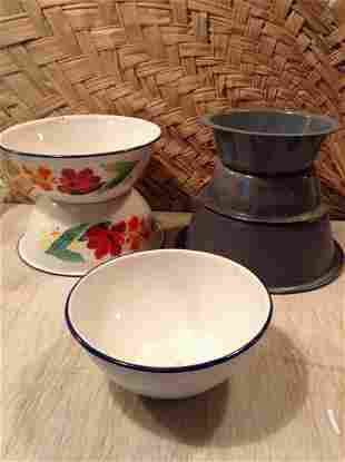 Lot of Tole Painted enamel and tin bowls