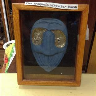"""The Iroquois Whistler Mask in a Shadowbox 9""""x11.5"""""""