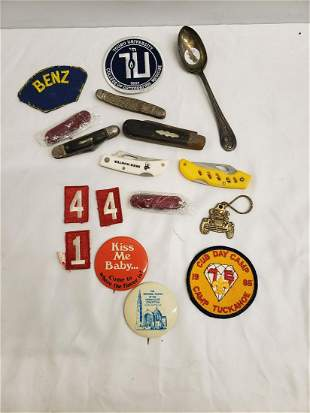 Lot of pocket knives, patches, and more