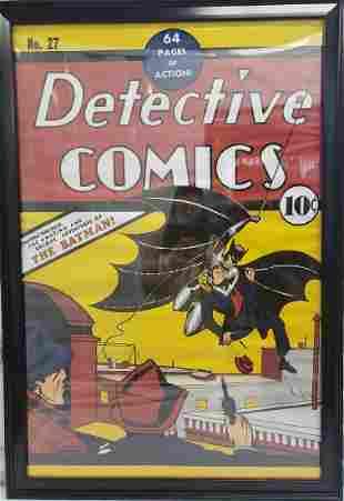 Large framed Detective Comics poster