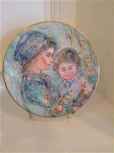 """Royal Doulton """"Colette and Child"""" 1973 Plate with Brass"""