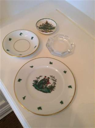 Furstenberg Germany plates, Spode and crystal ashtray