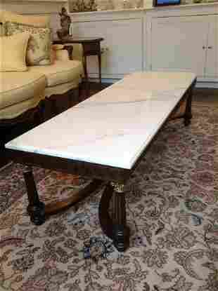 Solid Marble top and Carved Wood Coffee Table
