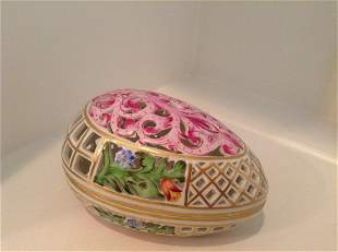 """Signed Herend Reticulated open weave Egg box 5"""""""