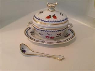 Signed Richard Ginori Italy Sugar Bowl with spoon