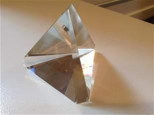 "Signed Steuben Crystal Pyramid 3"" tall"