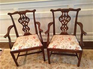 Pair of Baker Knapp & Tubbs Hand Carved Arm Chairs