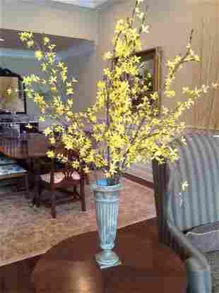 Column Vase with Forsythia Branches