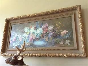"Ornate Frame Floral Print Approximately 42"" long"