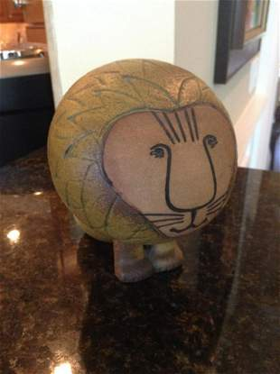 "Ceramic Lion Signed Gustavsberg Sweden 5.5"" tall"