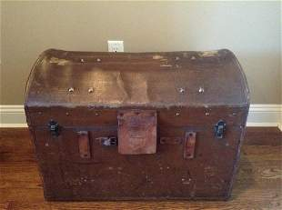 """Leather and Linen Lined Early Trunk 27""""x21""""x18"""""""