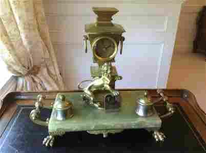 "1930s Jade and Brass Lion Desk Clock  17""x13.5"""