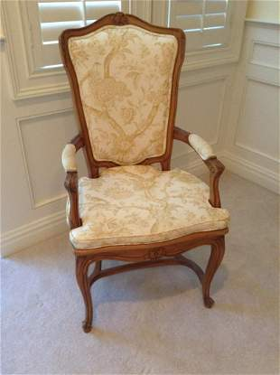 """Carved Wood Upholstered & Cushion Arm Chair 45"""" tall"""