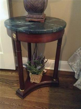 """Marble Top Side Table 25""""x18""""x18"""" no contents"""