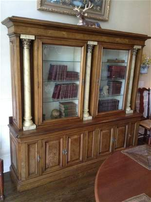 Solid Wood & Stone Columns China Cabinet with Key