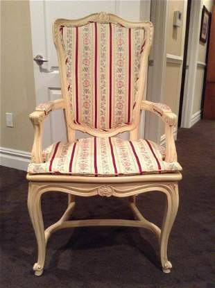 """Carved Wood Upholstered and cushion Arm Chair 45"""" tall"""