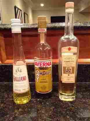 Galliano, Biscotti Liqueur & Averna Bottles