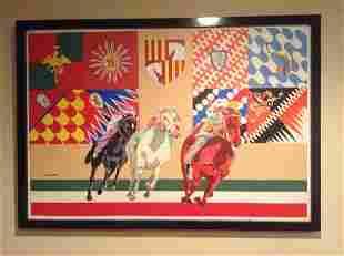 Original Palio di Siena Horse Race Painting signed