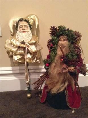"""Santa Jester and Large Santa Tree Topper 17"""""""