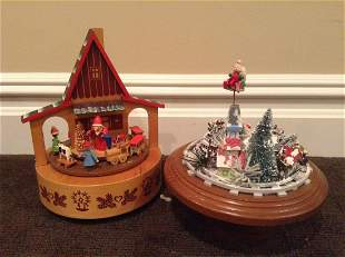 """Two Wood Music Boxes Tallest 10.5"""""""