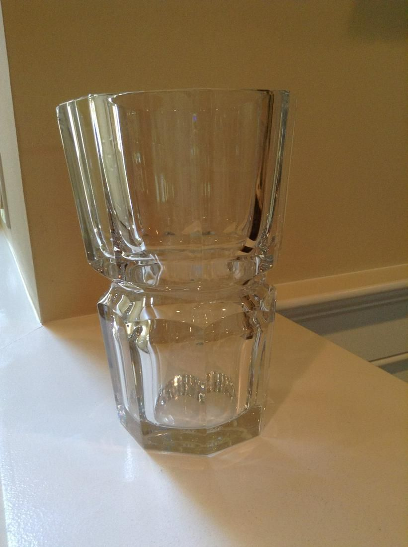 """Signed Baccarat Crystal Vase (has small Chip) 8"""" tall"""