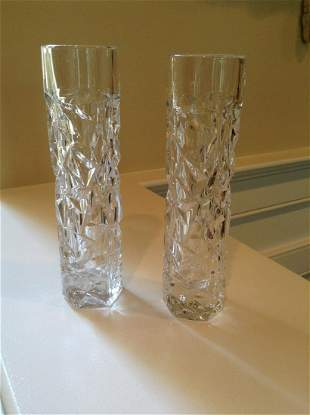 Pair of Tiffany & Co. Crystal Vases