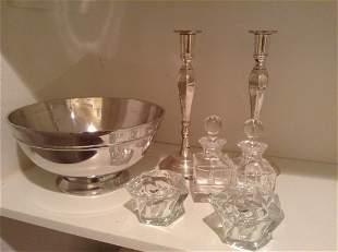 Pottery Barn Bowl, Candlesticks and Crystal
