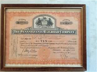 Framed Pennsylvania Railroad Company 1949 stock