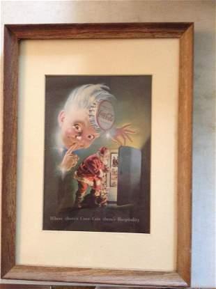 "Framed Vintage Christmas Coca-Cola Print 11""x15.5"""