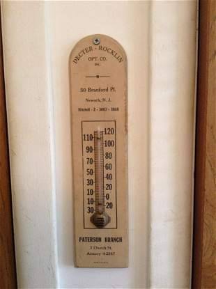 """Dexter-Rocklin Opt. Co Vintage Thermometer 12"""" long"""
