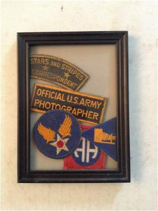 Framed WWII U.S. Army Insignia, U.S. Army 82nd Airborne