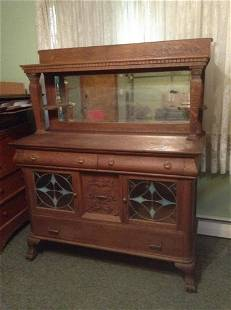 Early Tiger Oak Claw Foot Mirrored Hutch with Stained