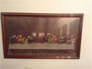"""Early Last Supper Print Signed R. Stana 44""""x25"""""""
