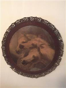 """Very Early Hand Carved Round Fram Horse Print 31.5"""""""