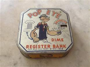"Vintage Popeye Register Dime Bank 2.5"""