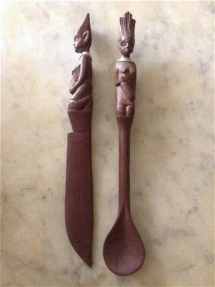 """African Hand Carved Wood Utensils 9.5"""" long"""
