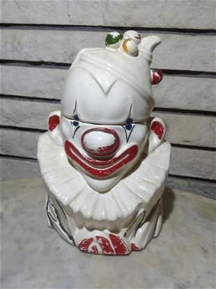 "Signed McCoy Clown Cookie Jar 11"" tall"