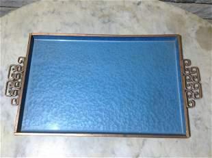 "Vintage Art Deco Enameled Tray 15.5""x9"""