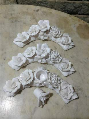 Set of Three Porcelain Flowers with perfume holder?