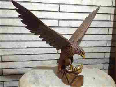 """Hand Carved Wood Eagle Catching snake 27"""" across x 21"""""""