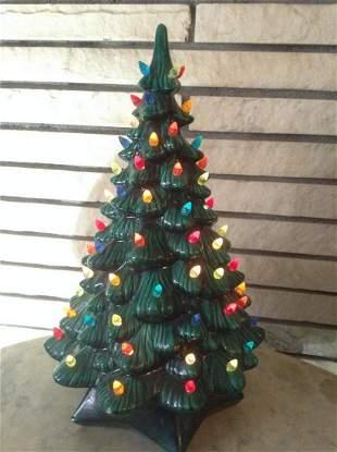 """Vintage Ceramic Christmas Tree 20"""" tall Works"""