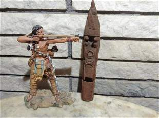 """Native American Statue 8"""" and Carved Wood boat"""