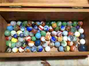 Wooden Box Full of very early marbles