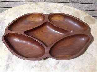 Mid Century Modern Hand Carved Teak Wood Serving Dish