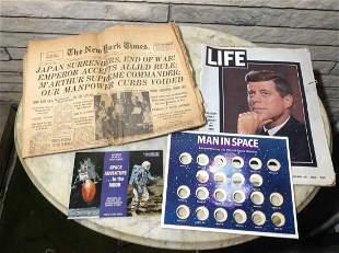 Original 1945 WWII Newspaper, 1969 Man in Space Book &