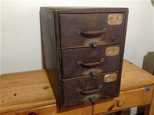 "Very Early Wood Three Drawer Filing Box 22""x16""x11.5"""