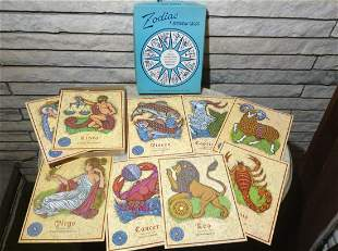 9 Large Vintage Zodiac Birthday Cards with Envelopes in