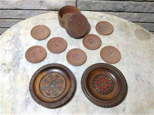 Hand Painted Carved Wood Plates from Poland by Piotr