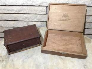 Two Early Wood Boxes - one Cigar box