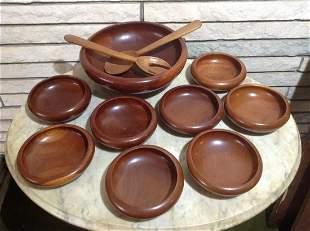 Mid Century Modern Mahogany 11 Piece Salad Bowl Set